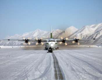 C-130 landing on sea ice runway