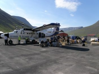 Loading a Twin Otter with equipment in Akureyri, Iceland